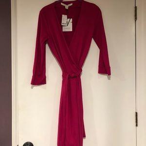 5a826d8c42ca Diane Von Furstenberg Dresses - New Julian Two Mini Wrap Dress, Pink Dahlia